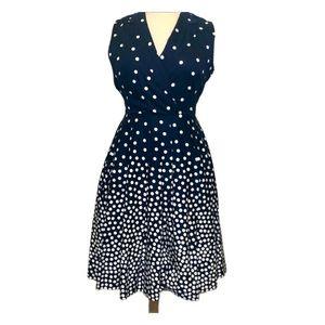 Anne Klein Navy Polka Dot Fit & Flare Dress 16